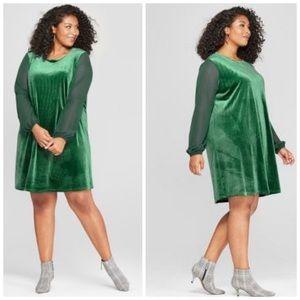 🆕 Ava & Viv Emerald Velvet Dress Sz 2X